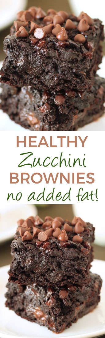 The most gooey chocolate zucchini brownies ever. You'd never guess these are healthy and made with whole grains, zucchini and that applesauce takes the place of oil.