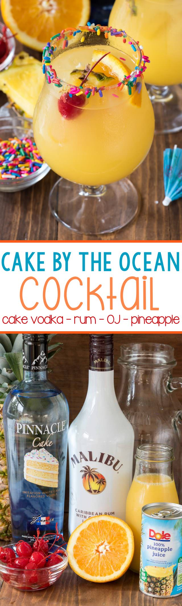 Like eating cake by the ocean? Make this easy cocktail with few simple ingredients like cake vodka, coconut rum, pineapple and orange.
