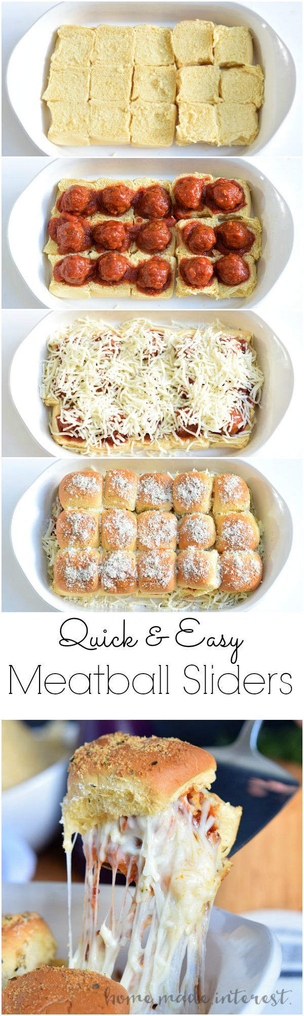 These cheesy Meatball Sliders are an easy appetizer recipe that the whole family will love.