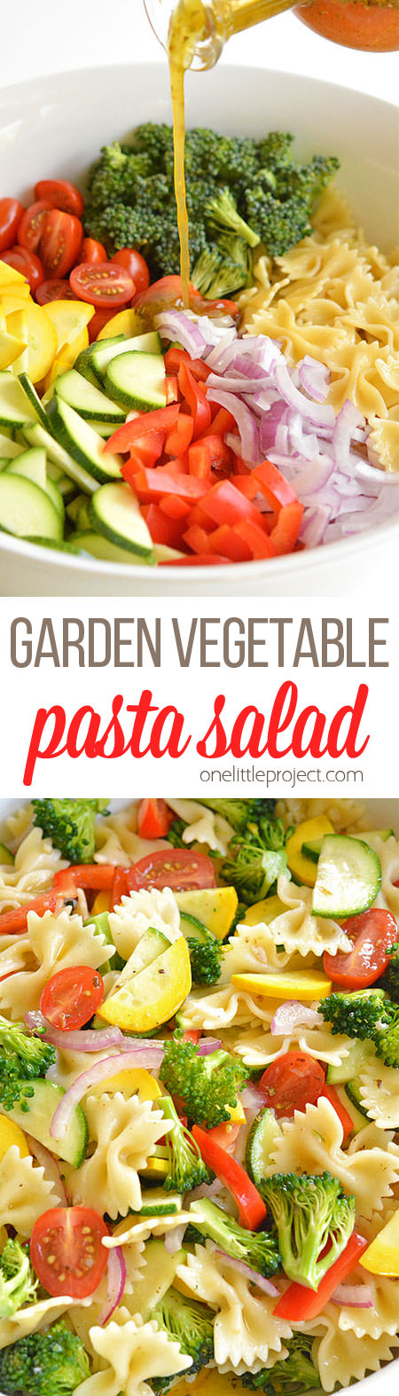 This garden vegetable pasta salad is SO GOOD. It's loaded with fresh, summer ingredients in almost all the colours of the rainbow so you know it's healthy.