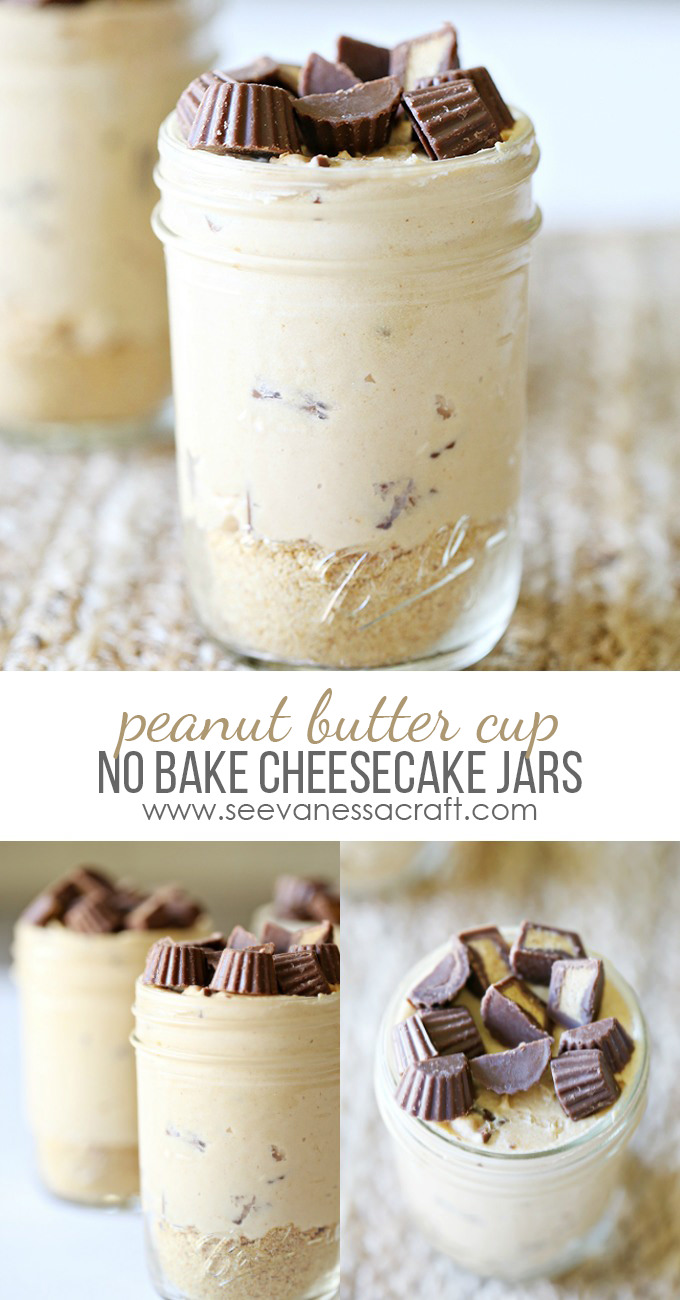 Searching for something delicious & healthy? Make this no bake peanut butter cup cheesecake recipe, served in a mason jar. You'll love it!