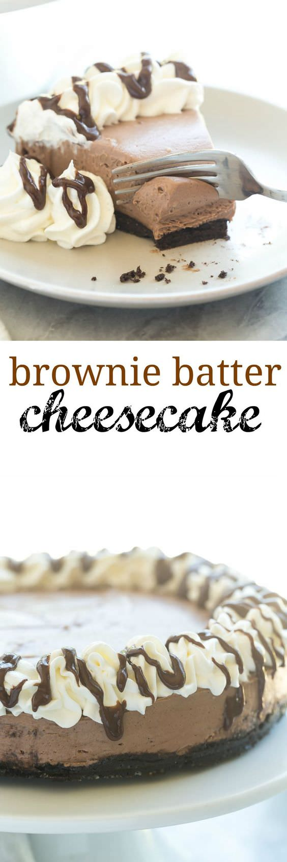 This No-Bake Brownie Batter Cheesecake can be prepared without using an oven. It's rich and fudgy and perfect for chocolate lovers!
