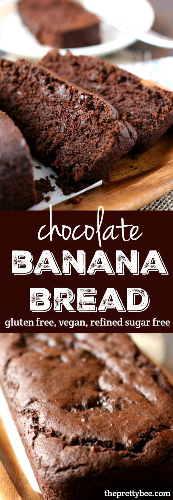 A delicious twist on banana bread – rich and chocolatey, but healthier, too – this bread is gluten free and refined sugar free!