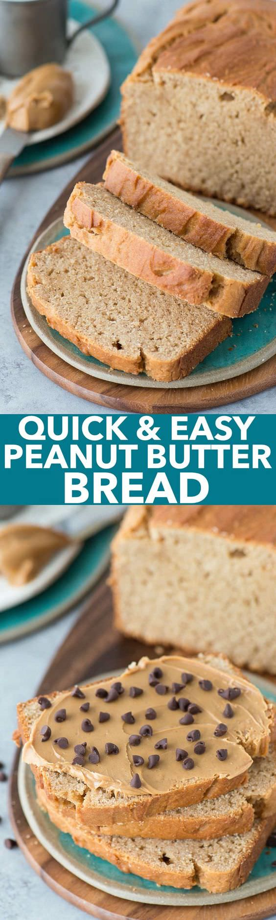 This easy to make and delicious peanut butter quick bread is perfect for breakfast or snack time!
