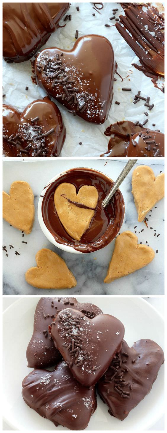 Valentine's Day is about to come and on that lovely occasion, is not it a great idea to prepare something special-- like these CHOCOLATE covered peanut butter HEARTS?