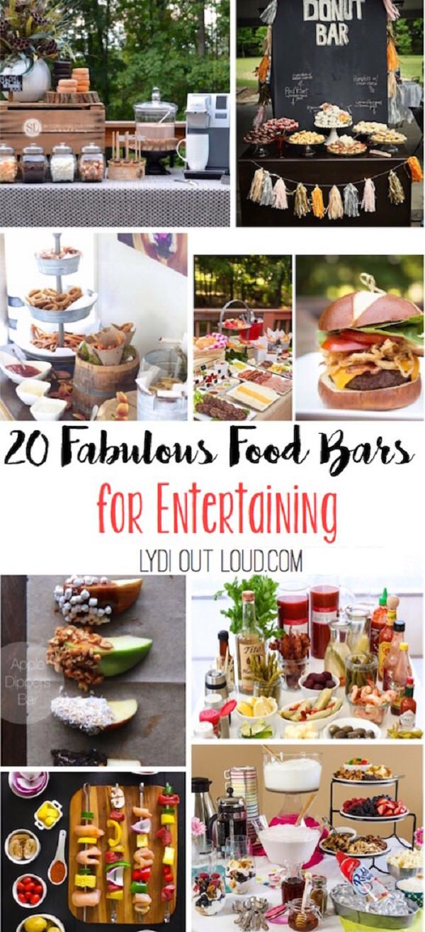 These 20 food bar ideas are perfect for parties and gatherings. Also, having them take some of the work off of the party's host.
