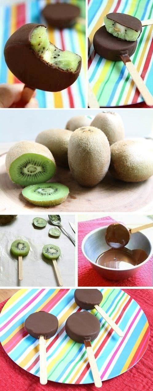 This chocolate kiwi popsicle recipe is a combination of taste and health. A slice of kiwifruit dipped in a thin and crispy coating of chocolate and coconut oil makes it an amazing dessert!