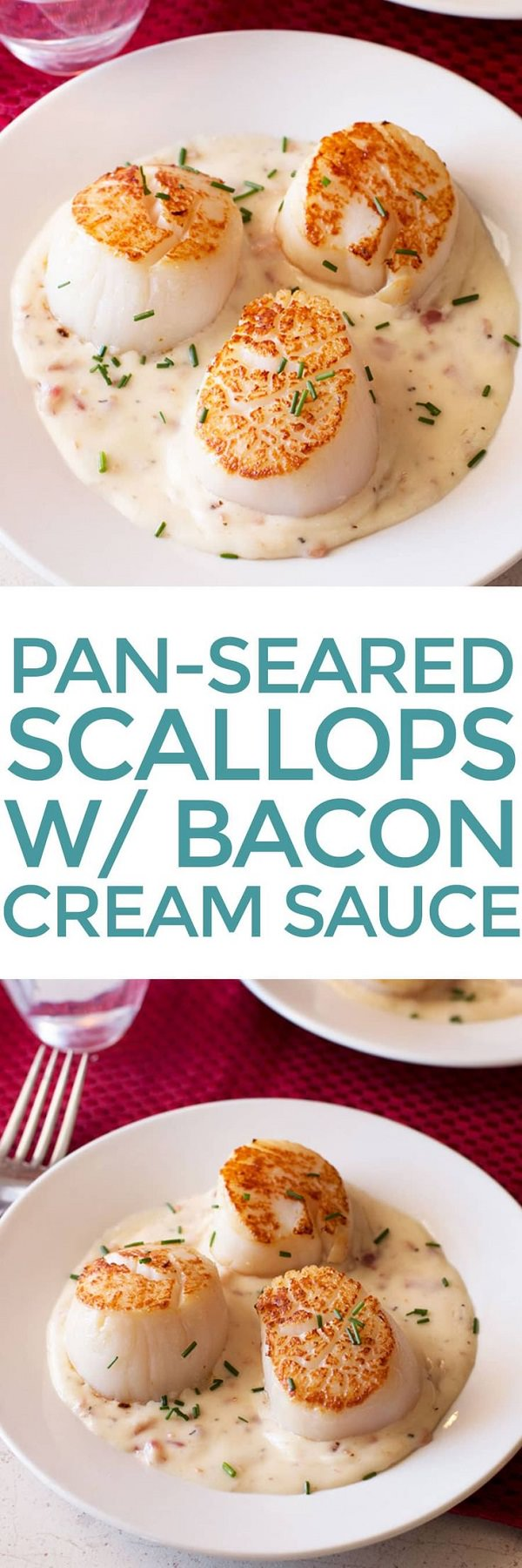 This Pan Seared Scallops served up on a bed of dreamy bacon-packed sauce is completely irresistible!