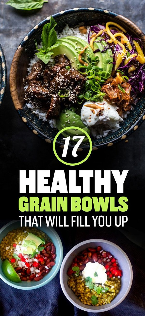 These healthy grain bowls that you can make for dinner are super satisfying due to an abundance of complex carbs, lean protein, and fiber.