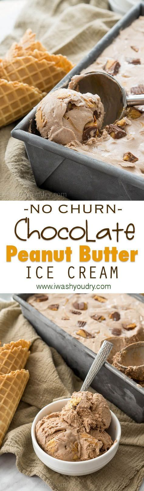 This No Churn Chocolate Peanut Butter Ice Cream is by far the easiest and creamiest and peanut-iest ice cream out there!