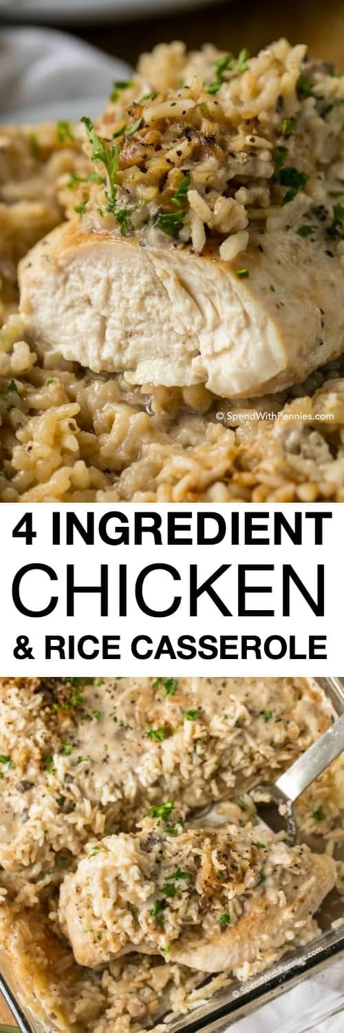 Chicken Rice Casserole is a family favorite meal prepped in under 5 minutes with only 4 ingredients, it packs a lot of flavor in a filling one dish meal!