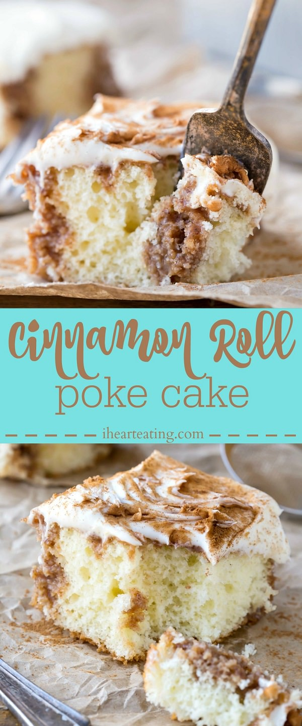 Dessert doesn't get much better than this Cinnamon Roll Poke Cake – tender white cake filled with buttery cinnamon-sugar filling and rich cream cheese frosting!