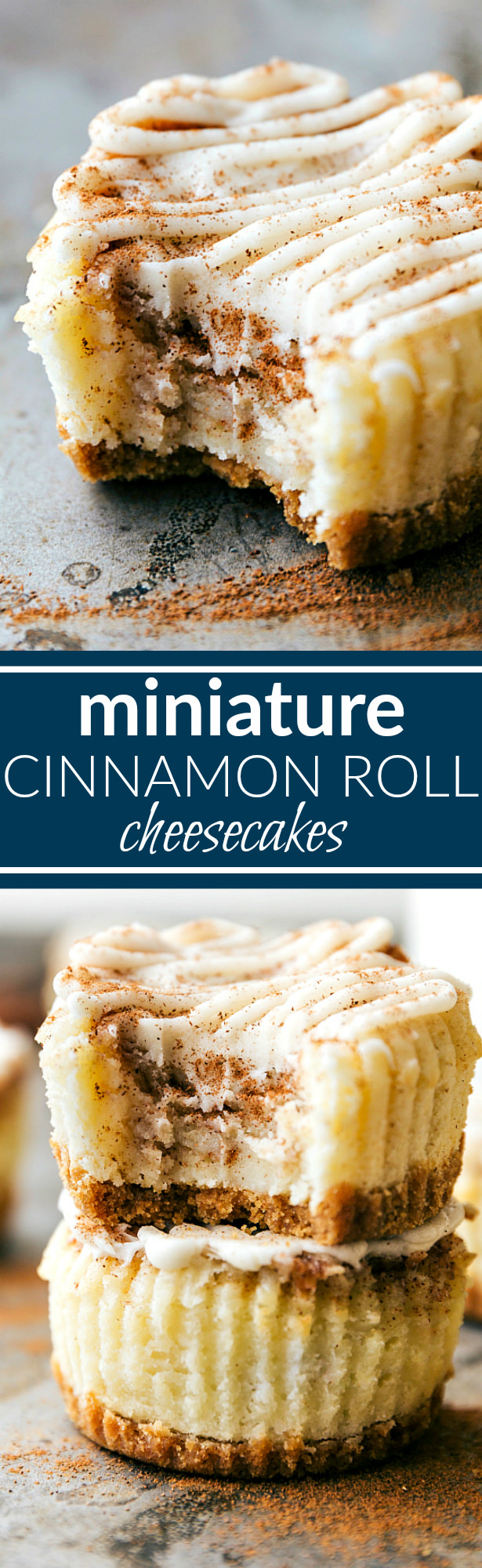 Miniature-sized cheesecakes with a cinnamon-sugar swirl and a cream cheese topping. These mini desserts taste just like a cinnamon roll!