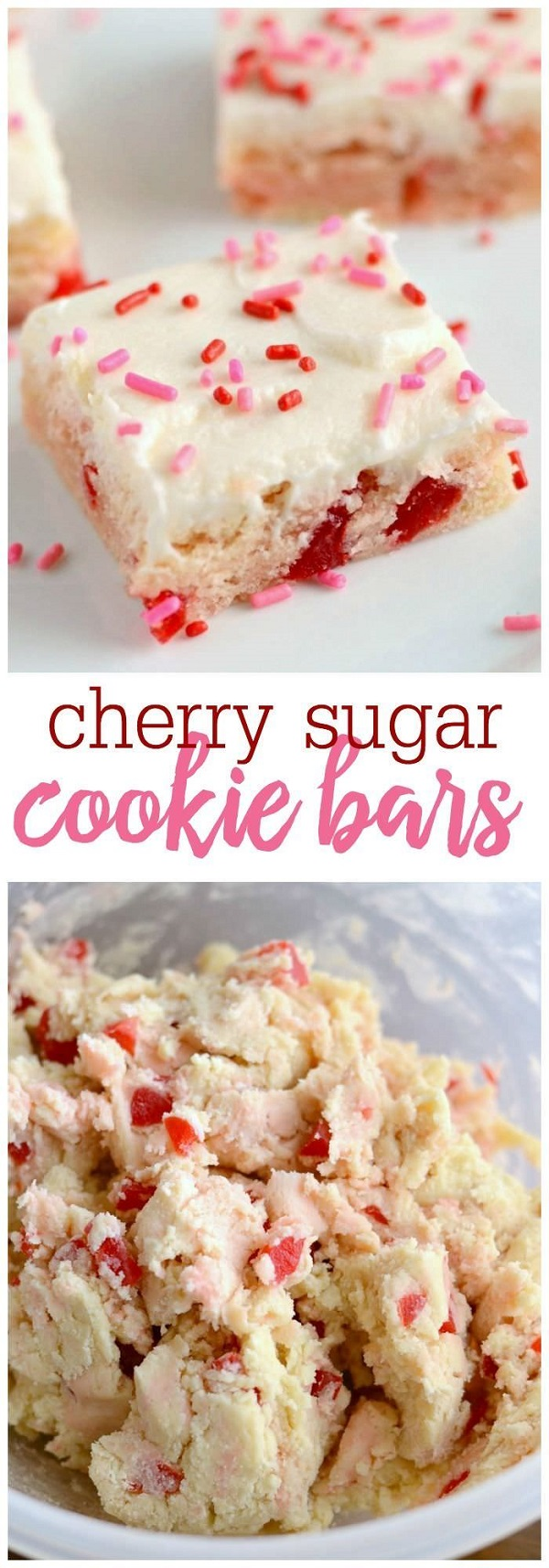 These Cherry Sugar Cookie Bars are a new favorite. They are similar to my sugar cookie bars, but with a cherry twist.