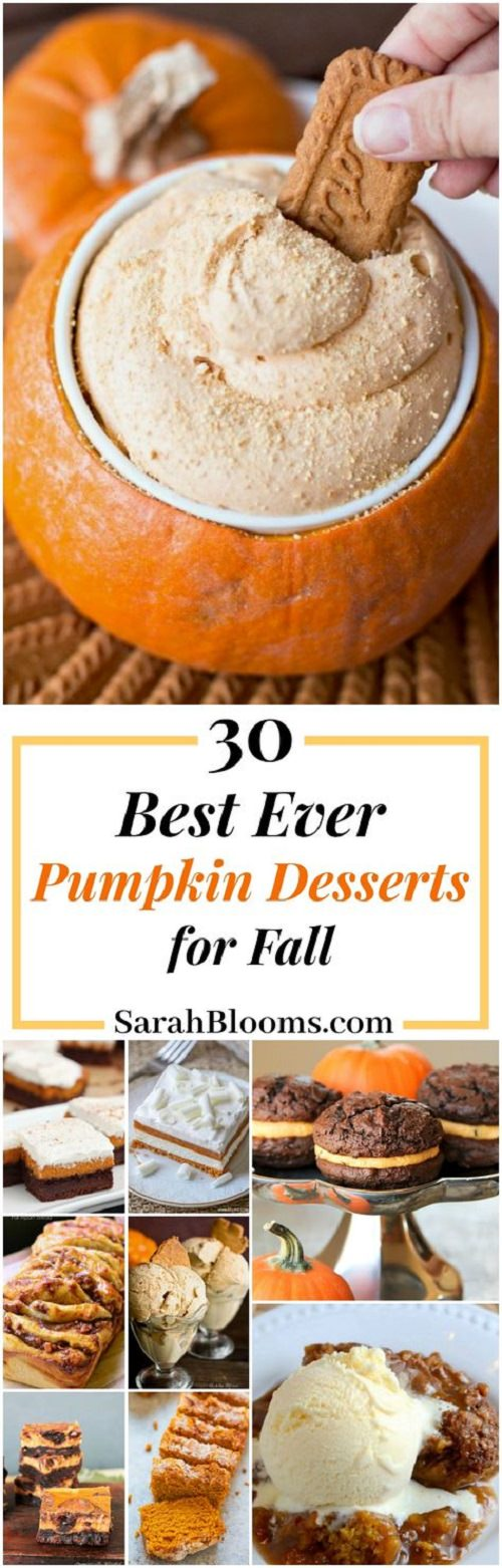 This ultimate list of 30 Incredible Pumpkin Desserts is an extensive list filled with cakes, fudge, brownies, cheesecakes, creamy layers, crunchy crusts, and everything else you can think of.