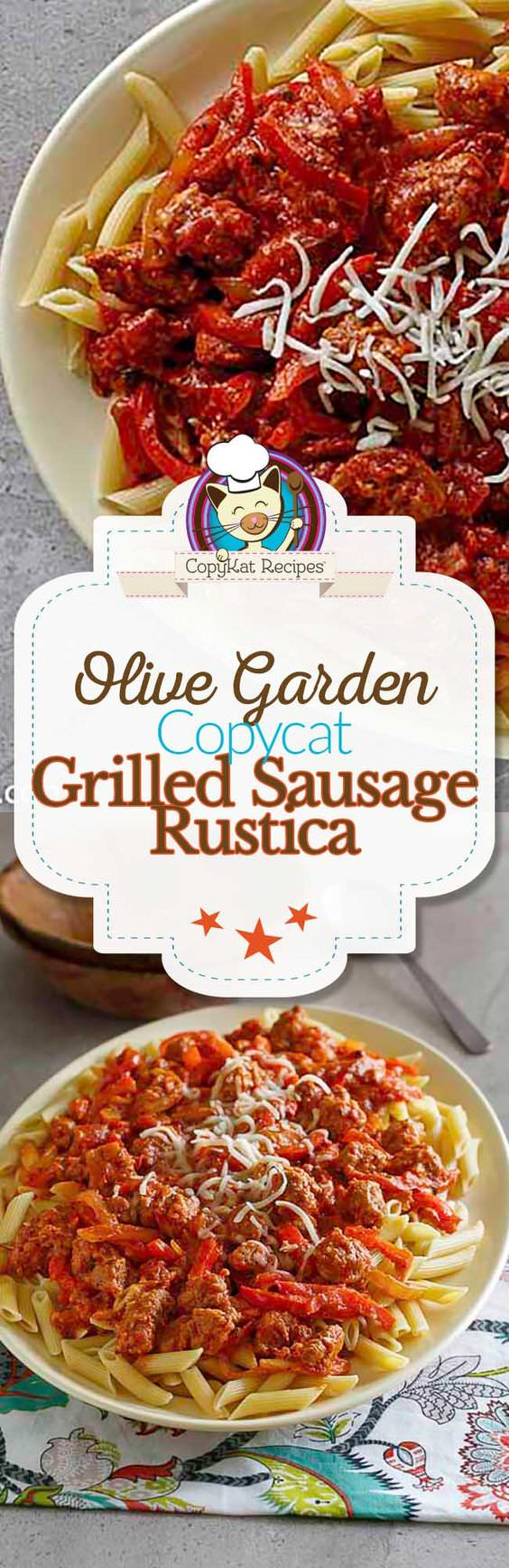 Olive Garden Grilled Sausage and Pepper Rustica can be made at home with this easy to prepare recipe. Enjoy this restaurant flavor at home.