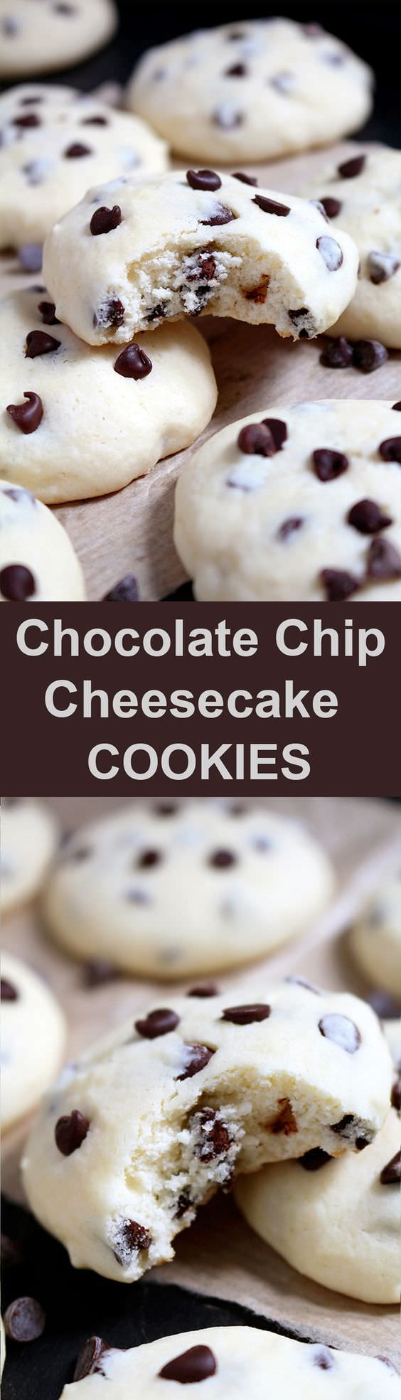 These cookies with cream cheese and mini chocolate chips simply melt in your mouth. Chocolate Chip Cheesecake Cookies are simple, light and delicious!