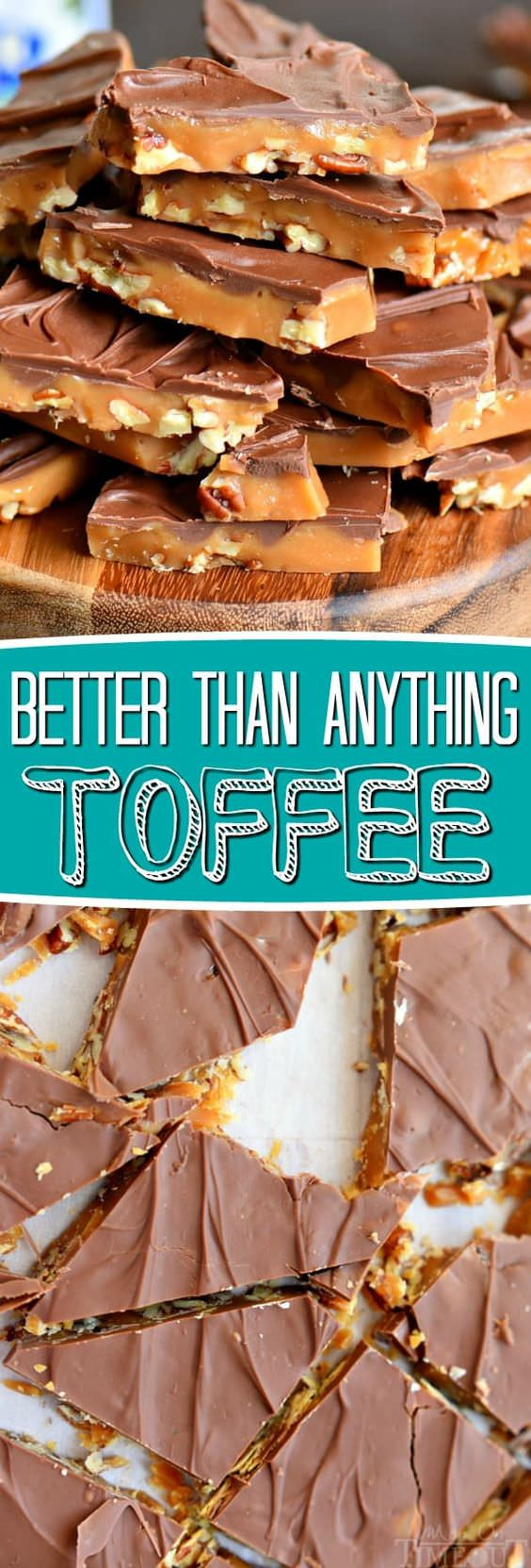 The best toffee recipe EVER! Sweet milk chocolate, crunchy pecans, and rich, buttery toffee - what's not to love? Makes a great gift!