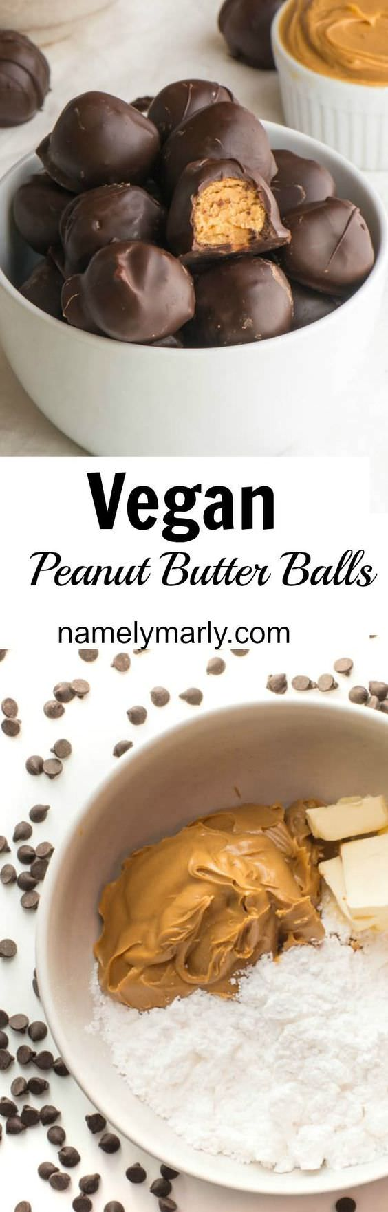 Who said vegan isn't fun? Say goodbye to cholesterol-laden peanut butter balls, and say hello to these vegan peanut butter balls covered in chocolate.