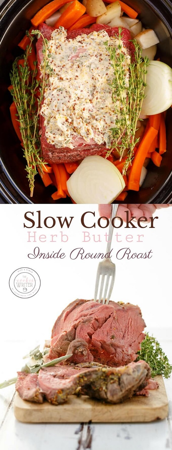 Holidays don't need to be expensive or time-consuming. Try this slow cooker herb butter inside round roast this holiday season to save on time and effort!