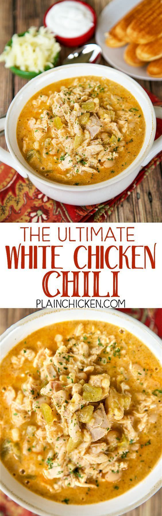 The Ultimate White Chicken Chili - the BEST of the BEST White Chicken Chilis! SO good and ready to eat in under 20 minutes!