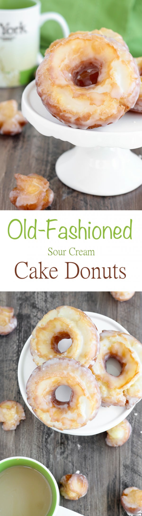 These Old Fashioned Sour Cream Cake Donuts are UNREAL. The inside is soft, tender and cakey; and the outside is crispy with a classic sweet glaze.