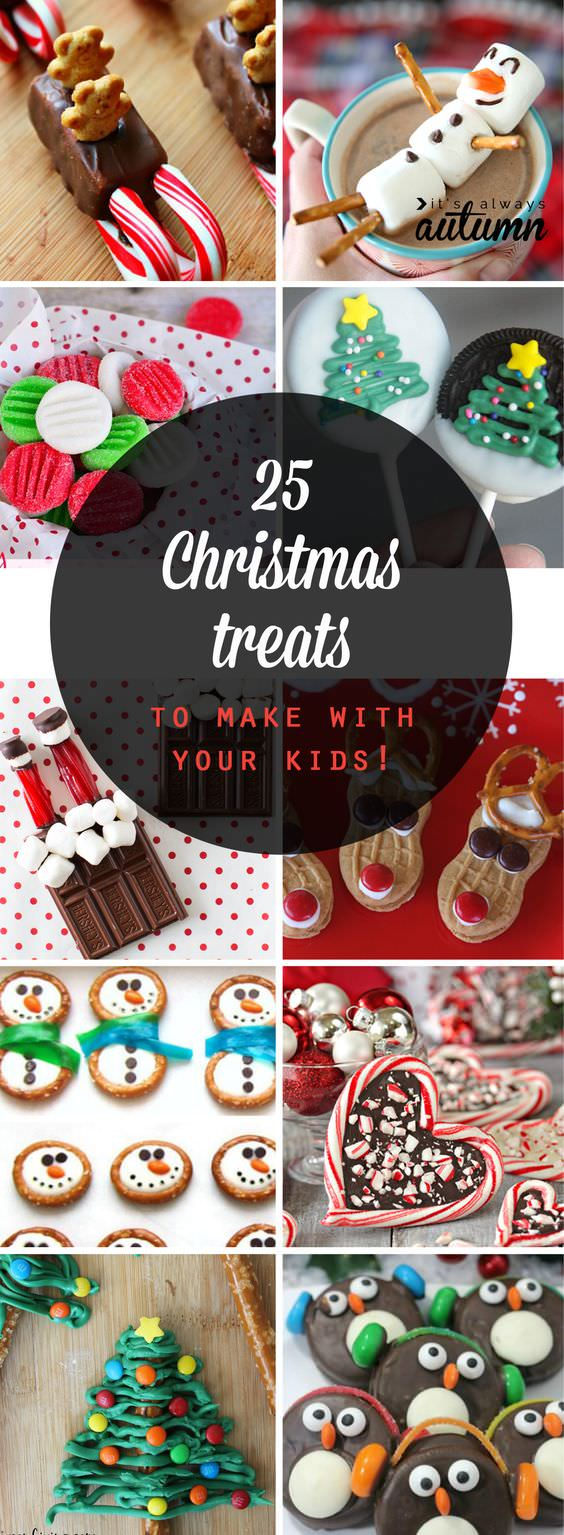 Here are 25 adorable treats that are easy enough to make with your kids this Christmas. Eat them yourselves or package them up and share with friends for a cute DIY gift!