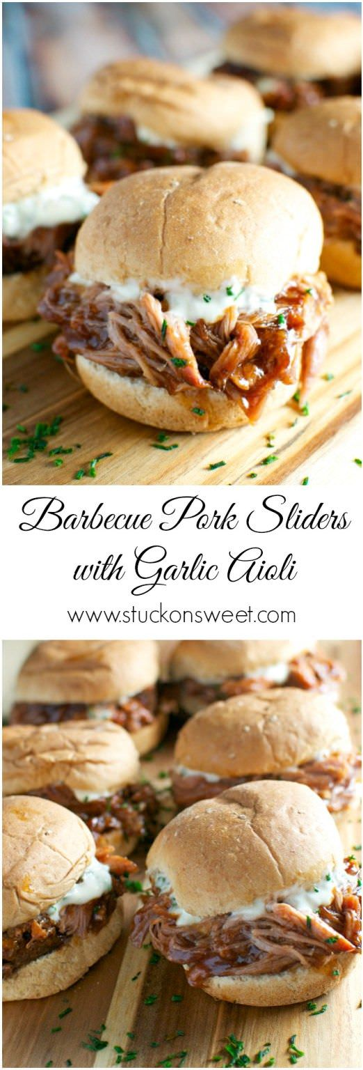 A simple recipe for pulled pork sliders - let the slow cooker do all the work and top sliders with garlic aioli.