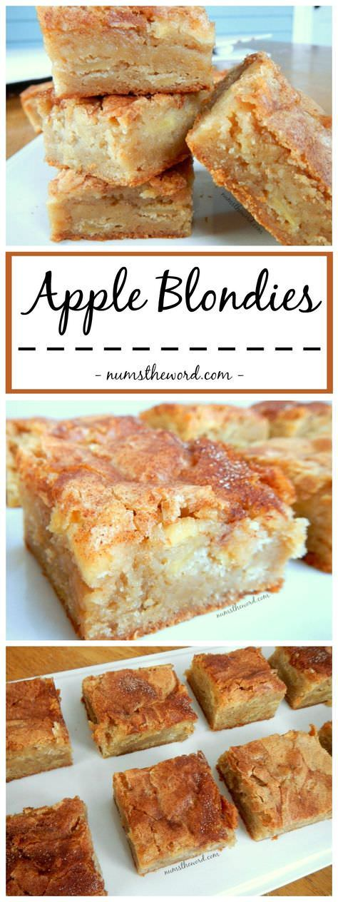 A perfect Autumn dessert that mixes apple pie and blondies. Yummy apple blondies with a large scoop of vanilla ice cream is the perfect dessert {or snack!}