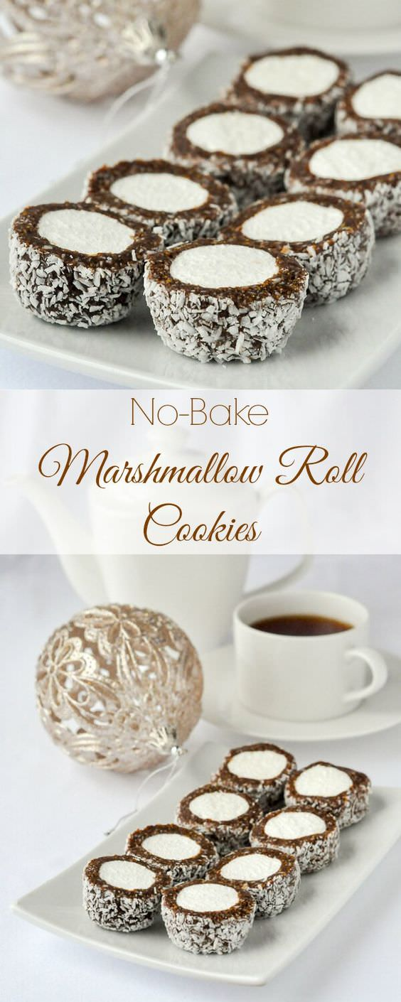 Marshmallow Roll Cookies - easy, no-bake & freezer friendly! These cookie confections will be popular with all ages.