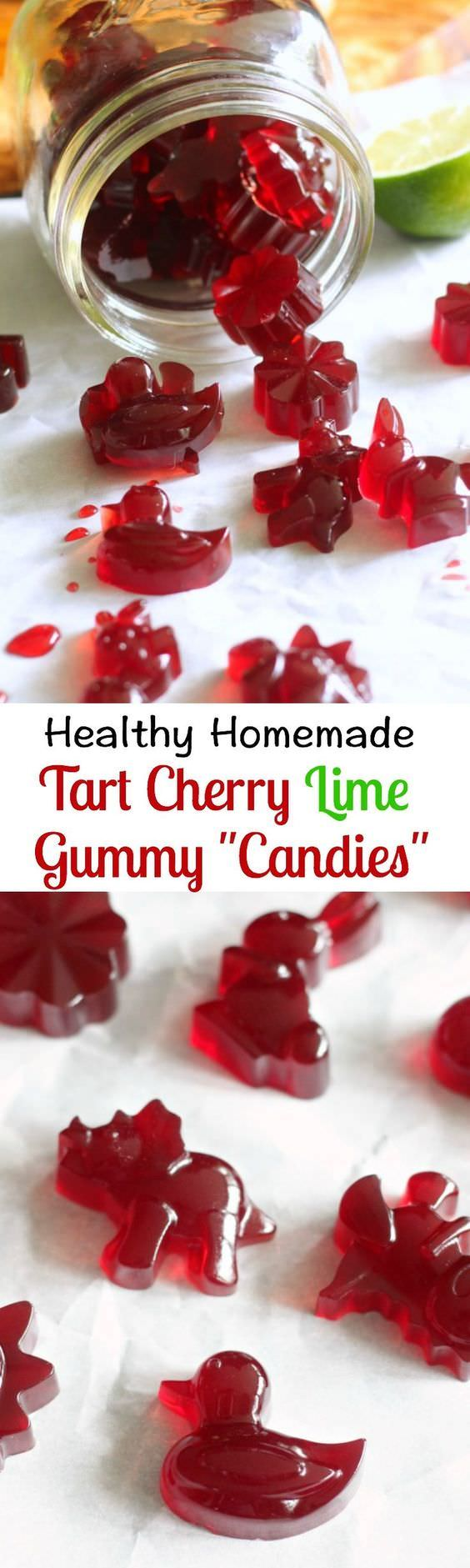 Immune boosting and gut healing Paleo Tart Cherry Lime Homemade Gummy Candy with Vital Proteins grass fed gelatin and tart cherry juice.