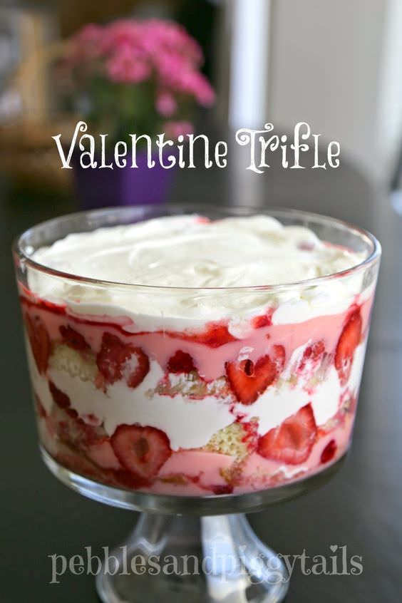 It's an Easy Valentine Trifle Dessert. It's just like my Fresh Berry Trifle, but with a Valentine twist. And it's part of my Ultimate Trifle Dessert Series.