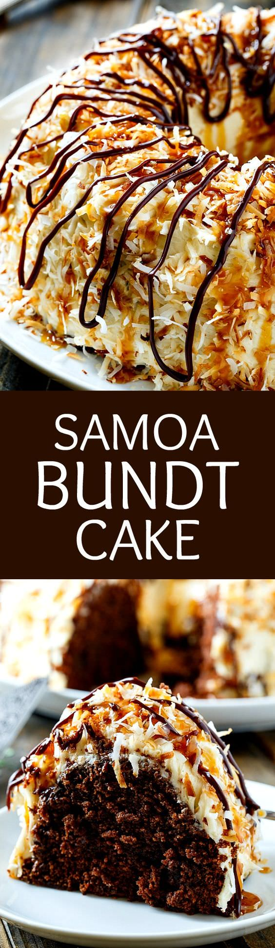 Samoa Cake tastes like the beloved girl scout cookie in bundt cake form with a tender cake full of chocolate flavor covered in a caramel frosting and lots of toasted coconuts.