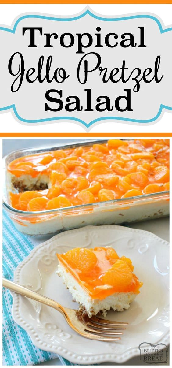 Tropical Jello Pretzel Salad is a combination of orange, pineapple and coconut flavors all in an easy-to-make sweet jello salad recipe!