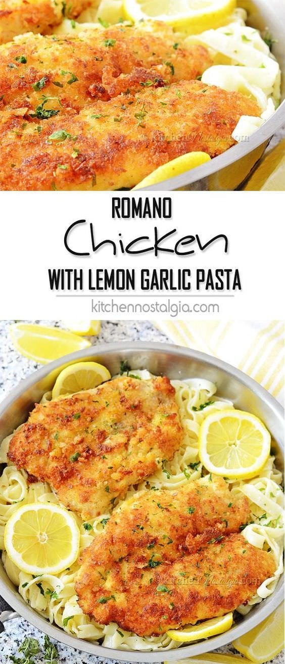 Romano Chicken with Lemon Garlic Pasta – crispy parmesan panko breaded chicken with pasta in fresh lemon garlic cream sauce! Tasty meal in 30 minutes time!