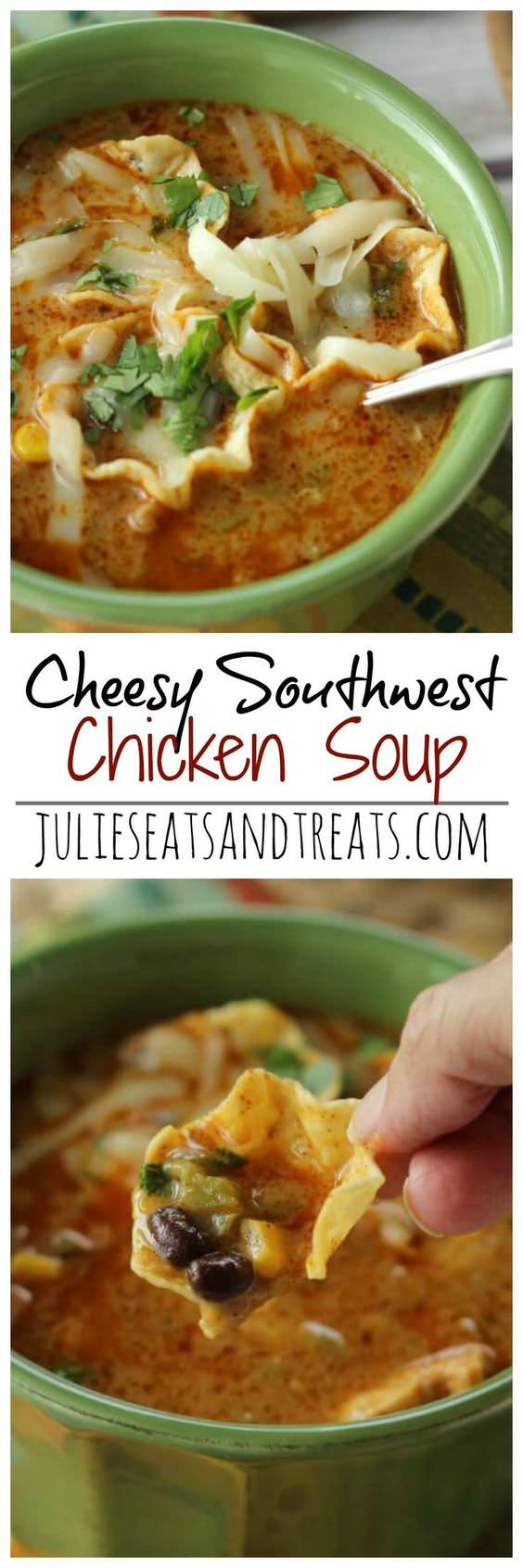 Cheesy Southwest Chicken Soup Recipe – Comforting soup filled with onions, peppers, black beans, corn, and finished off with a little cream to give it that extra little something!